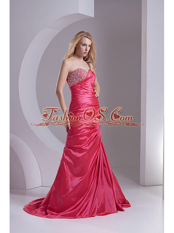 Column Sweetheart Taffeta Beading Ruching Coral Red Prom Dress