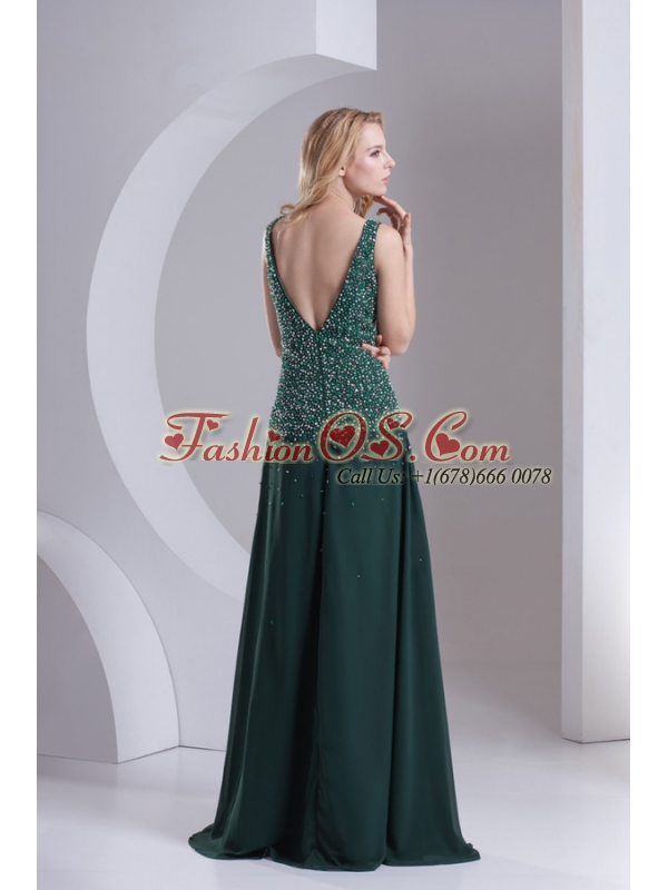 Column V-neck Chiffon Beading Dark Slate Gray Prom Dress