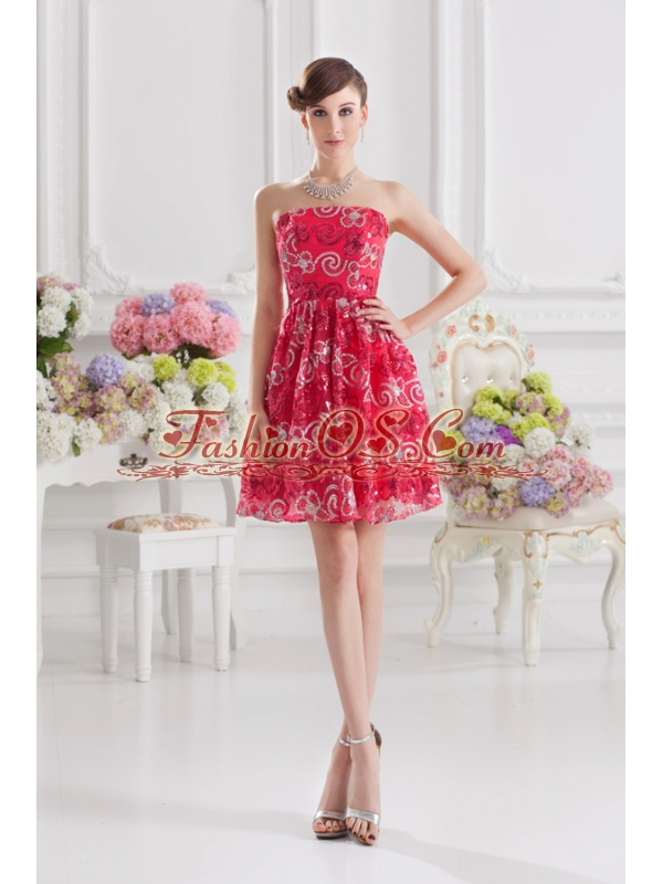Coral Red A-line Strapless Sequins Prom Dress for 2014 Summer