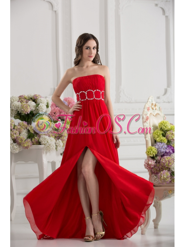 Empier Strapless Chiffon Beading Ruching High Slit Red Prom Dress