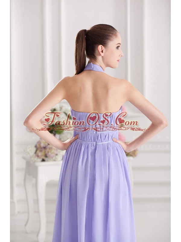 Empire Halter Top Floor-length Ruching Lavender Prom Dress