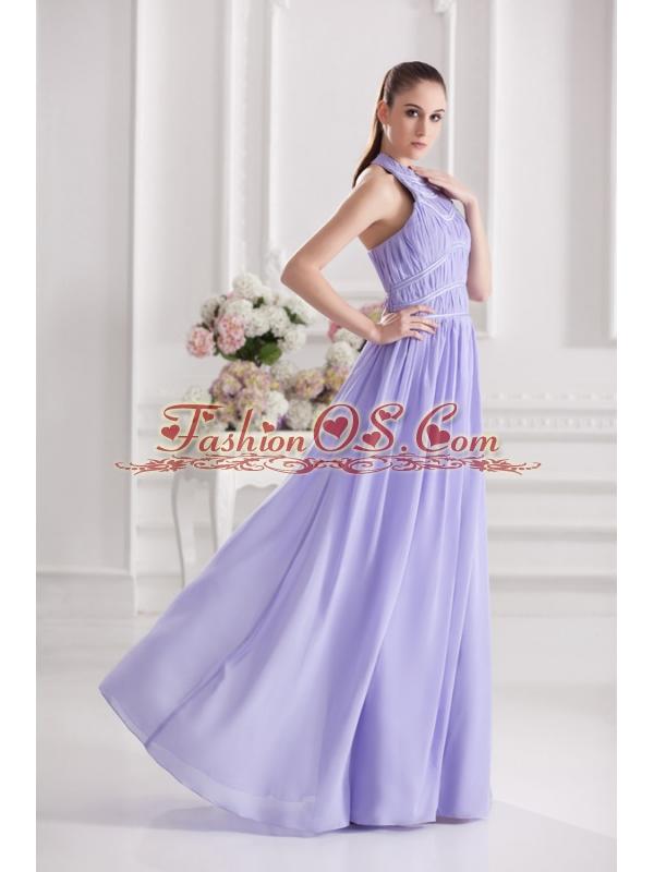 Empire Halter Top Floor-length Ruching Lavender Prom Dress