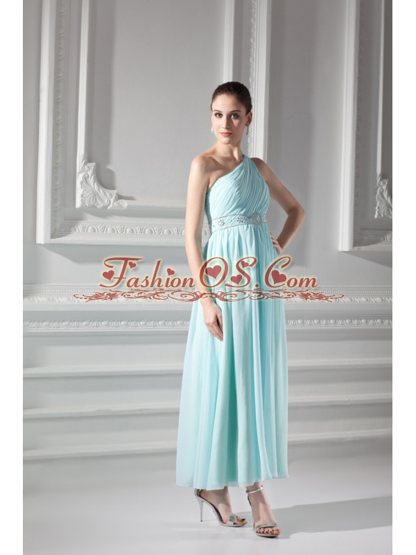 Empire Light Blue One Shoulder Beading and Ruching Prom Dress