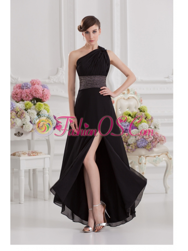 Empire One Shoulder Black Prom Dress with Beading and High Slit