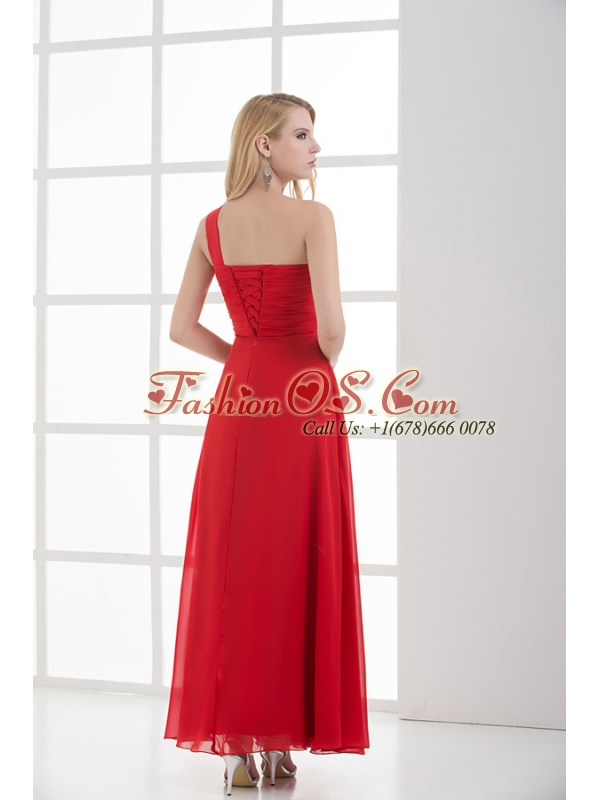 Empire One Shoulder Floor-length Chiffon Red Prom Dress