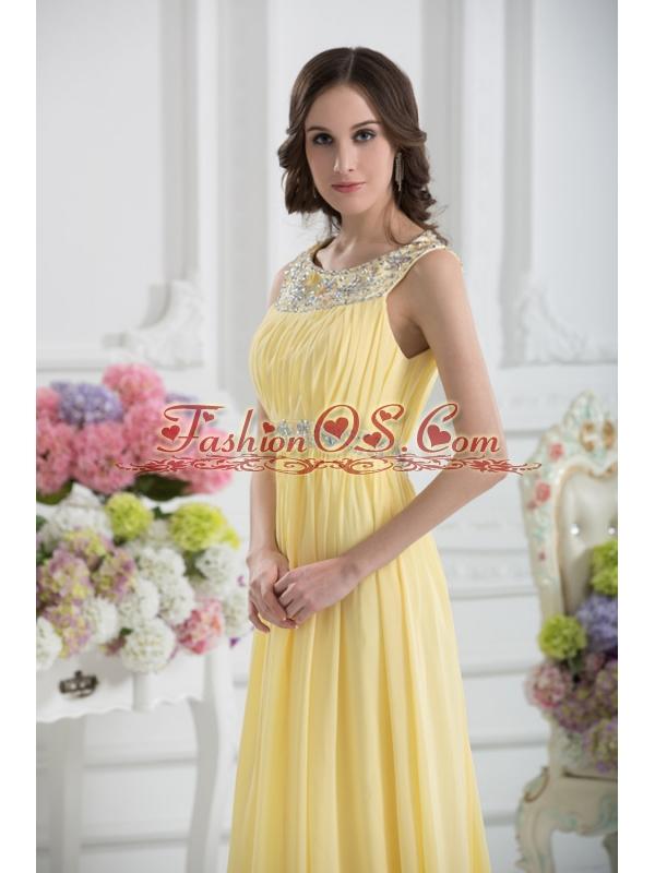 Empire Scoop Beading Ruching Light Yellow Prom Dress