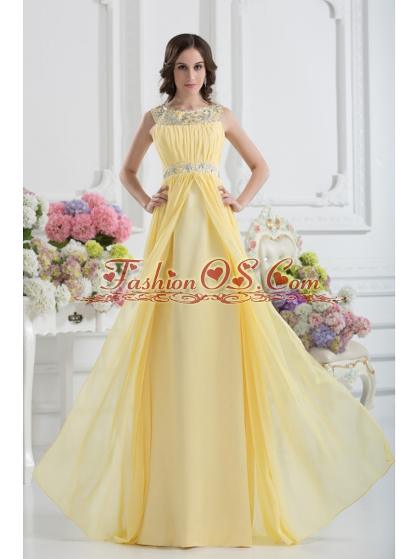 Empire Scoop Beading Ruching Light Yellow Prom Dress