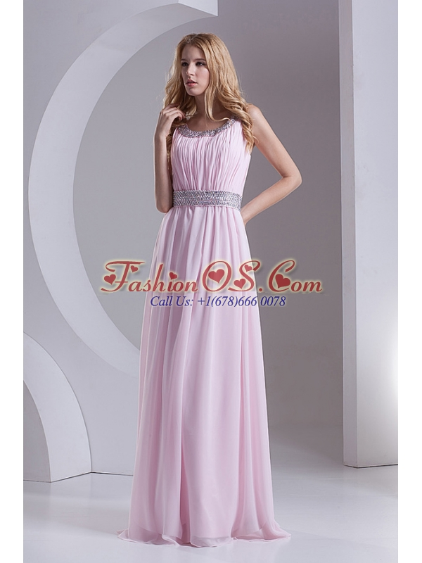 Empire Scoop Chiffon Beading Ruching Baby Pink Prom Dress