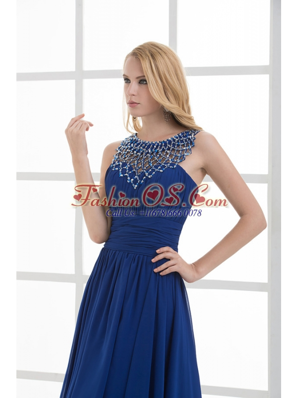 Empire Soop Beading Ruching Floor-length Chiffon Prom Dress