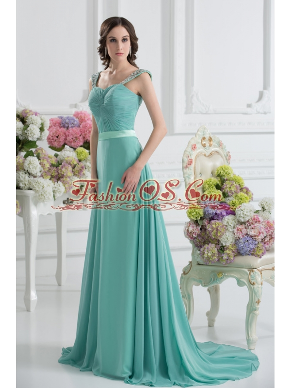 Empire Square Chiffon Beading Ruching Belt Mint Cream Prom Dress