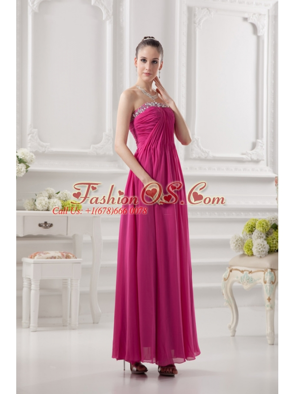 Empire Strapless Ankle-length Beading Chiffon Hot Pink Prom Dress