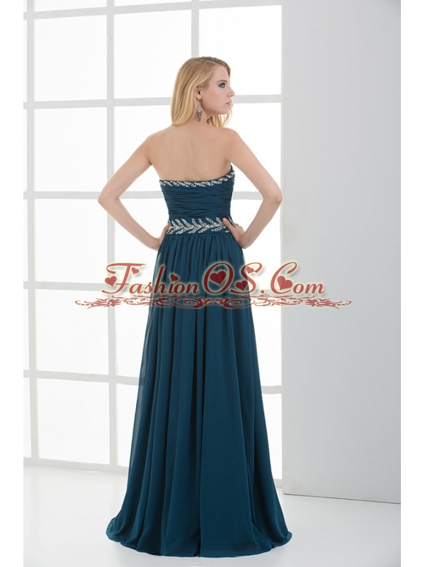 Empire Strapless Beading Blue Floor-length Chiffon Prom Dress