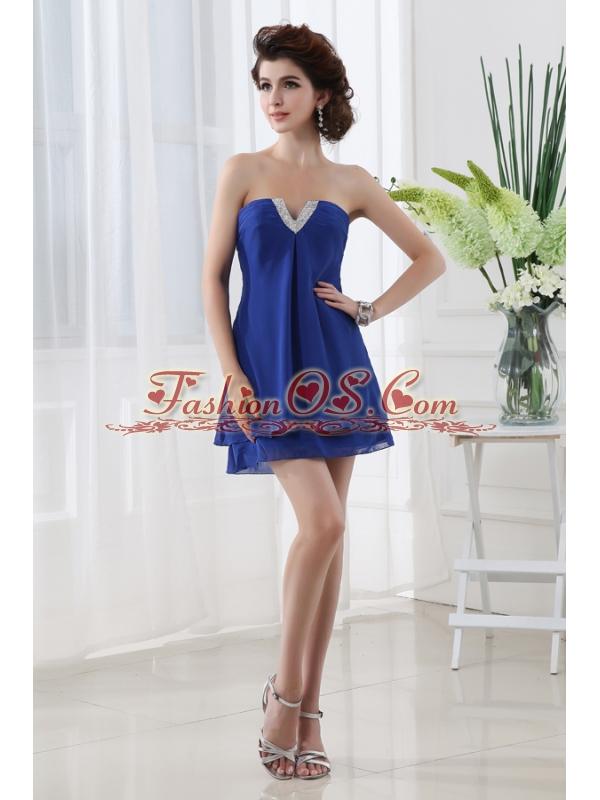 Empire Strapless Blue Mini-length Chiffon Prom Dress with Beading