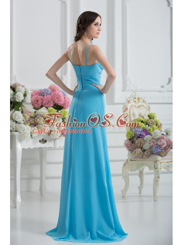 Empire Straps Ruching Baby Blue Floor-length Chiffon Prom Dress