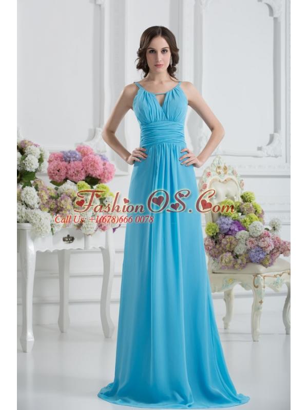 Empire Straps Ruching Baby Blue Floor-length Chiffon Prom Dress