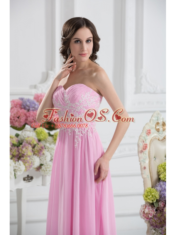 Empire Sweetheart Appliques Prom Dress in Baby Pink