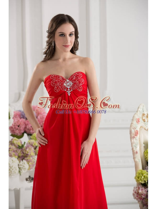 Empire Sweetheart Chiffon Beading Ruching Floor-length Prom Dress in Red