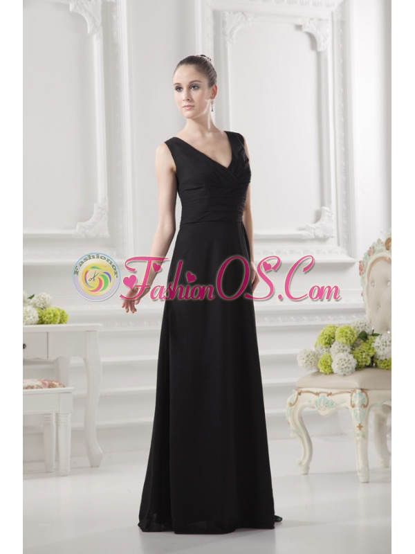 Empire V-neck Floor-length Ruching Black Prom Dress