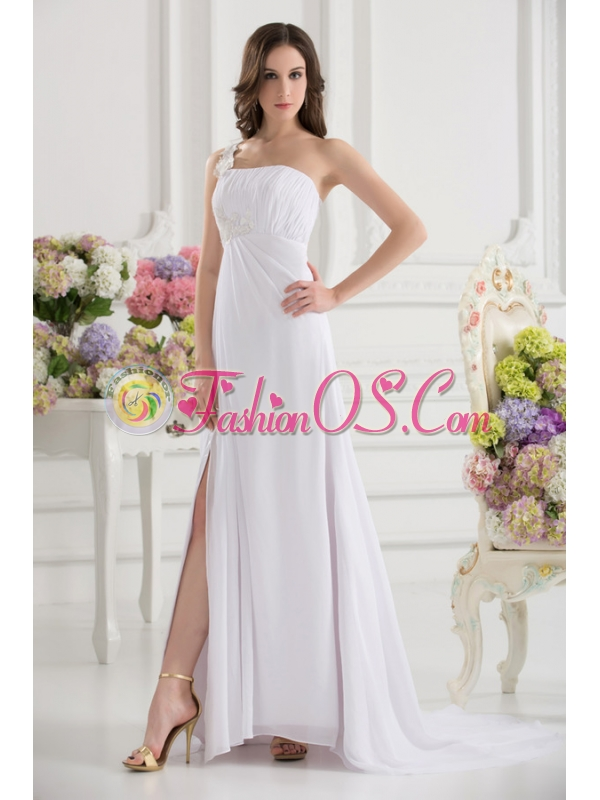 Empire White One Shoulder High Slit Brush Train Chiffon Prom Dress