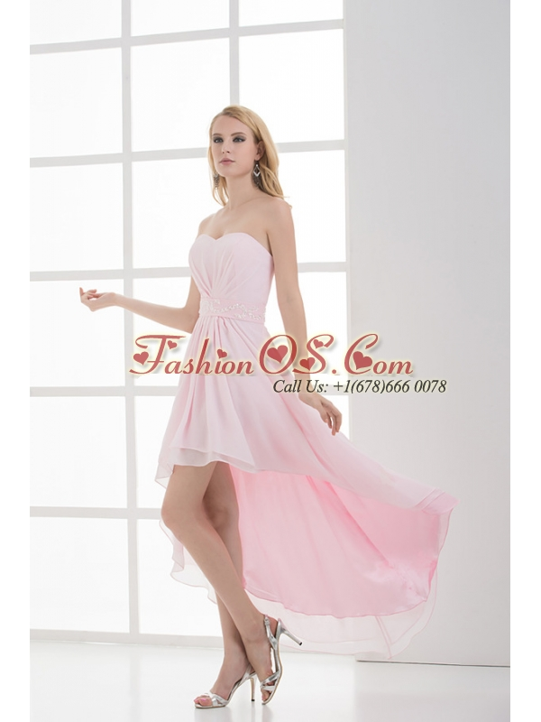 High-low Sweetheart Chiffon Baby Pink EmpireProm Dress with Beading