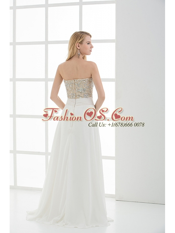 High Slit Sweetheart Beading and Ruching Floor-length Prom Dress