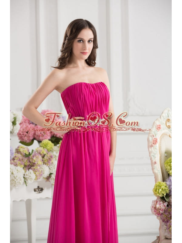 Hot Pink Empire Strapless Ruching Beading Brush Train Prom Dress