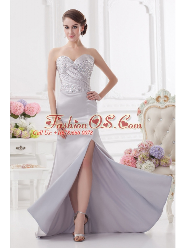 Light Grey Column Sweetheart Prom Dress with Ruching and Beading