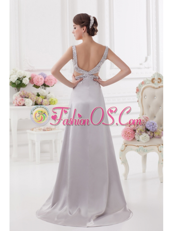 Light Grey Straps Column Prom Dress with Beading and Ruching