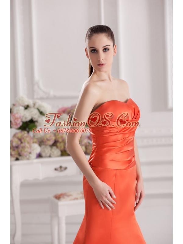 Mermaid Orange Red Sweetheart Floor-length Ruching Satin Prom Dress