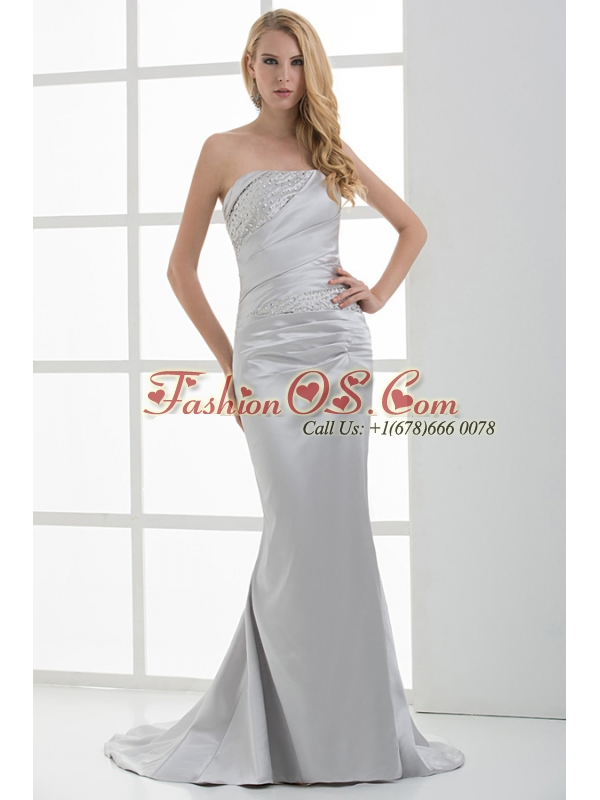Mermaid Strapless Beading and Ruching Brush Train White Prom Dress