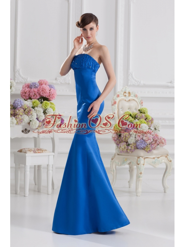 Mermaid Strapless Blue Prom Dress with Ruching and Beading
