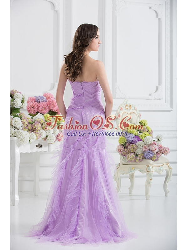 Mermaid Strapless Prom Dress in Lavender with Ruffles