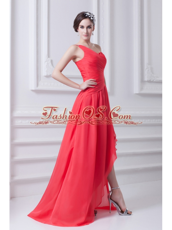 One Shoulder Asymmetrical Prom Dress with Ruching and Beading