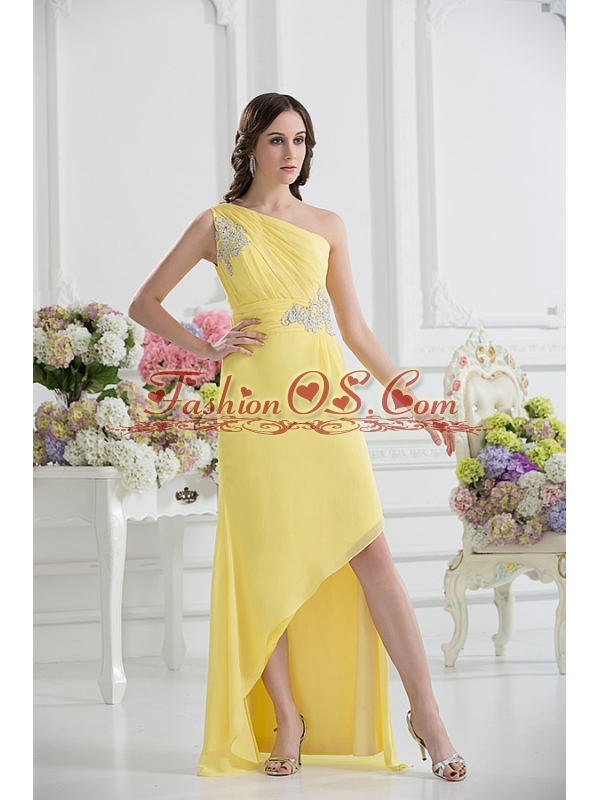 One Shoulder Empire Yellow High-low Prom Dress with Appliques