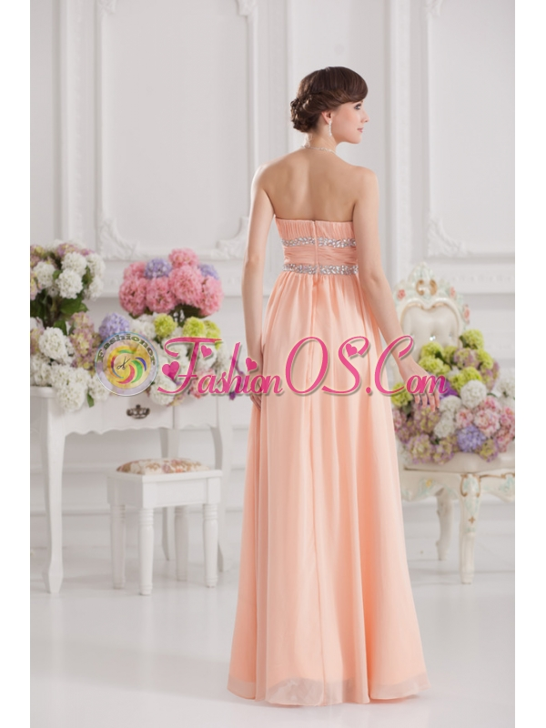 Peach Empire Strapless Prom Dress with Ruching and Beading