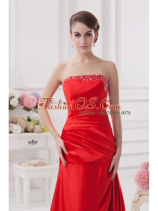 Red Column Strapless Prom Dress with Ruching and Beading