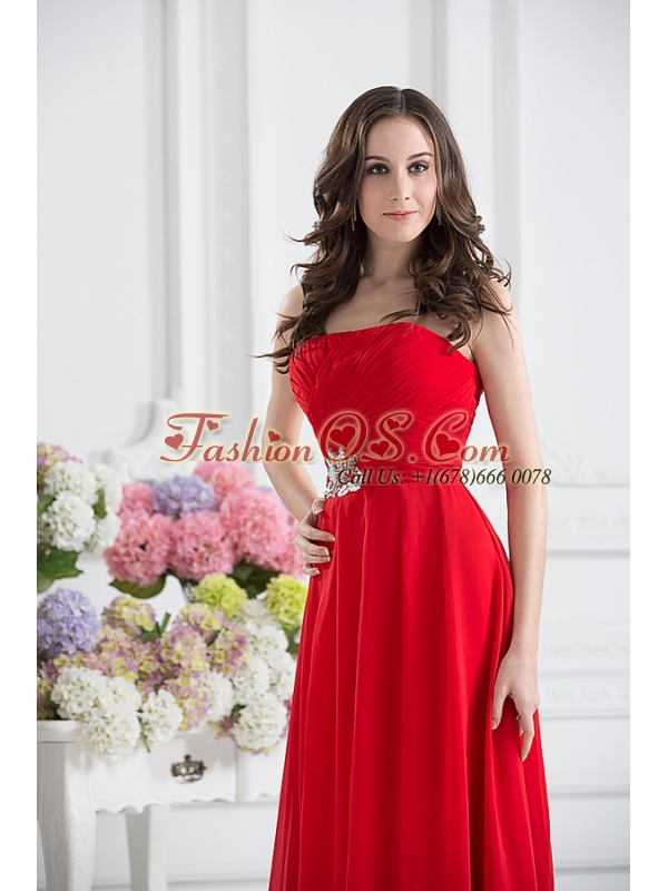 Red Empire Strapless Chiffon Floor-length Prom Dress
