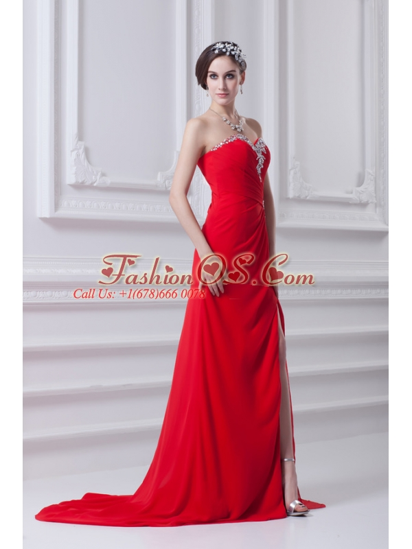 Red Sweetheart High Slit and Beading Prom Dress with Brush Train