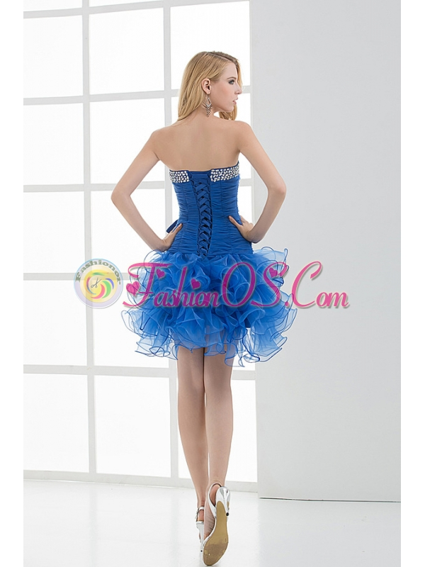 Short Strapless Beading and Ruching Ruffles Organza Prom Dress