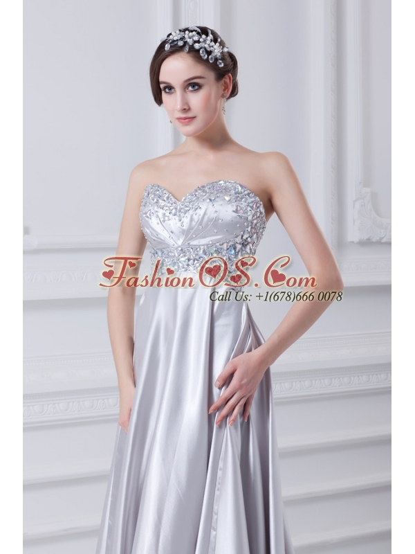 Silver A-line Sweetheart Taffeta Beading Brush Train Prom Dress