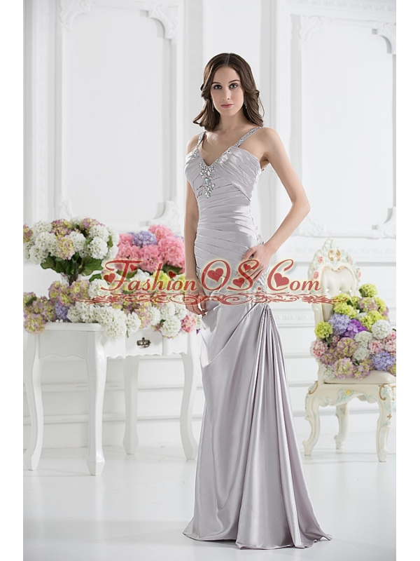 Silver Column V-neck Satin Prom Dress with Ruching and Beading