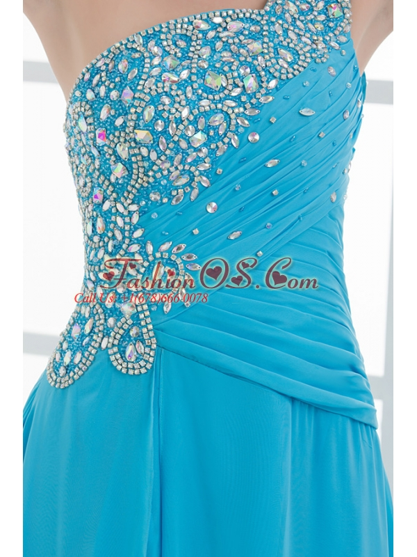 Sky Blue Beading and Ruching Empire One Shoulder Prom Dress with Court Train