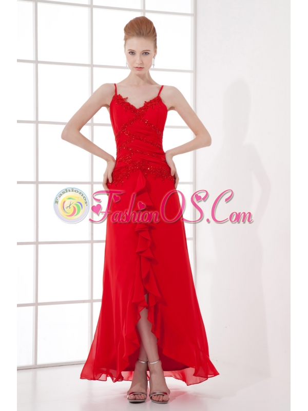 Spaghetti Straps Tea-length Chiffon Red Dresses for Prom
