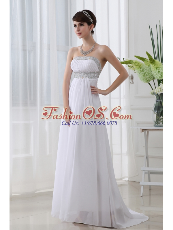 Strapless Beading and Ruching Backless Prom Dress