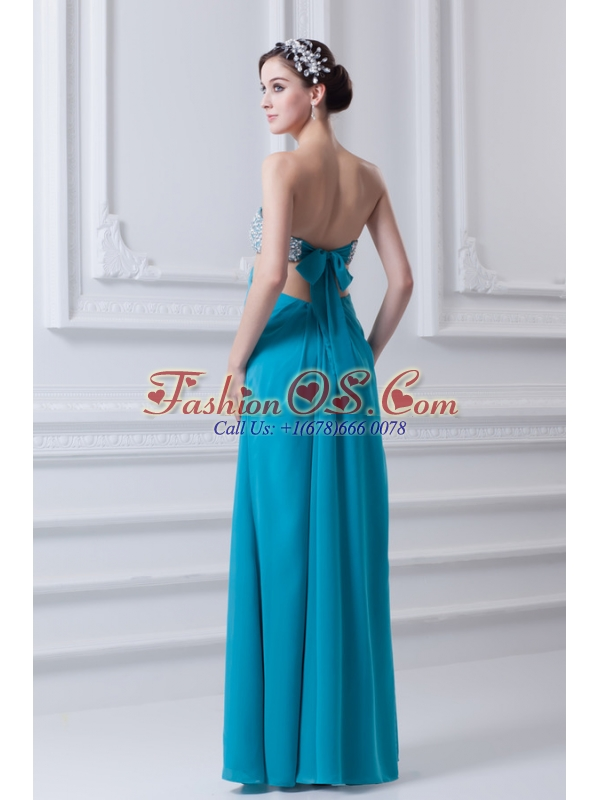 Sweetheart Deep Sky Blue Chiffon Prom Dress with Beading