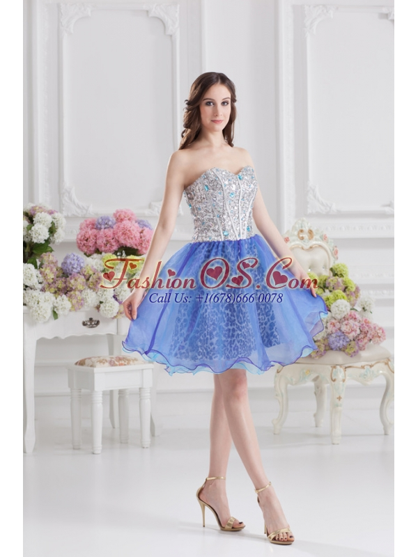 Sweetheart Medium Slate Blue A-line Prom Dress with Beading