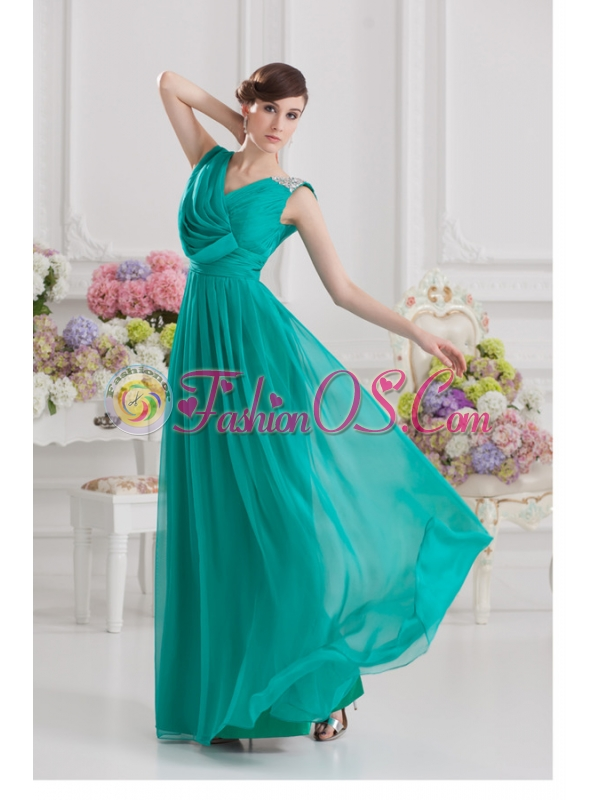V-neck Empire Turquoise Chiffon Prom Dress with Ruching and Beading