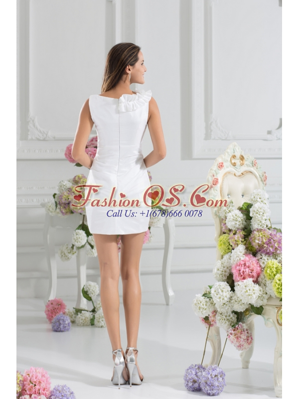 White Column V-neck Hand Made Flowers Mini-length Prom Dress