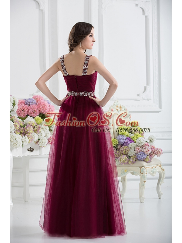 Wine Red Straps Empire Ruching and Beading Prom Dress with Belt