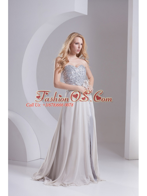A-line Grey Sweetheart Sleeveless Sequins Prom Dress with Hand Made Flower